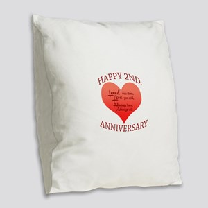 5th. Anniversary Burlap Throw Pillow