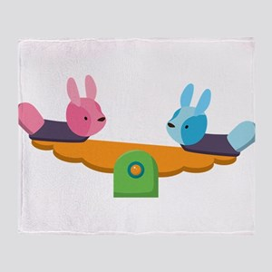 Rabbits on lever pulley Throw Blanket