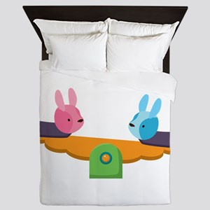 Rabbits on lever pulley Queen Duvet