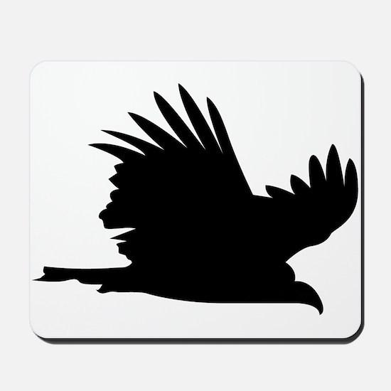Flying hawk silhouette Mousepad