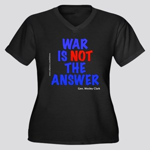 """War No Answer"" Women's Plus Size V-Neck Dark T-Sh"