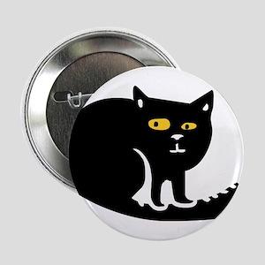 "Black fat cat sitting 2.25"" Button"