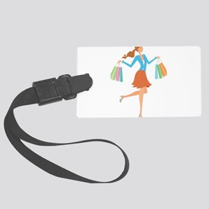 Tall shopping girl with bags Large Luggage Tag