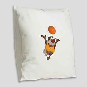 Funny animals with basketball Burlap Throw Pillow