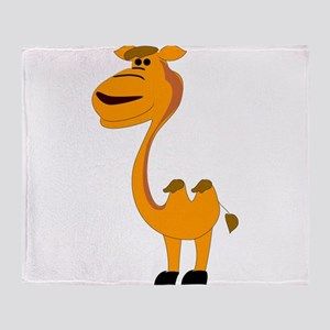Yellow camel cartoon Throw Blanket