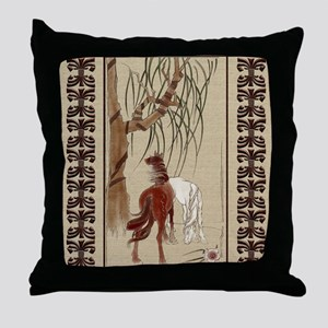 Harvest Moons Chinese Horses Throw Pillow
