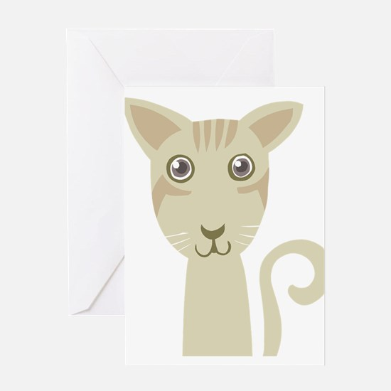 Green cat face Greeting Cards