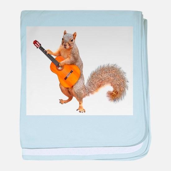 Squirrel Acoustic Guitar baby blanket
