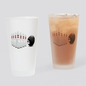 Bowling alley sport pins and ball Drinking Glass