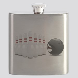 Bowling alley sport pins and ball Flask