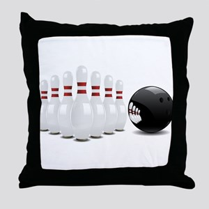 Bowling alley sport pins and ball Throw Pillow