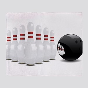 Bowling alley sport pins and ball Throw Blanket