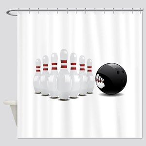 Bowling alley sport pins and ball Shower Curtain