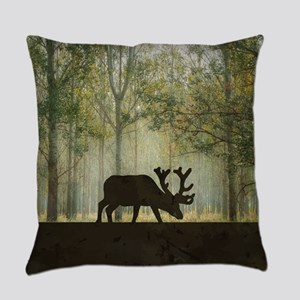 Moose in Forest Illustration Everyday Pillow