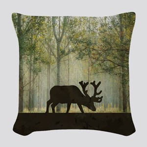 Moose in Forest Illustration Woven Throw Pillow
