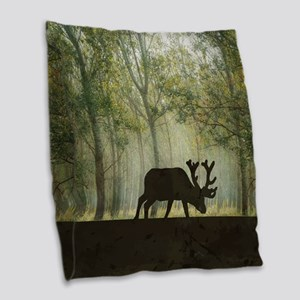 Moose in Forest Illustration Burlap Throw Pillow