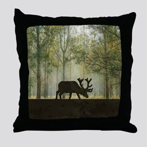 Moose in Forest Illustration Throw Pillow