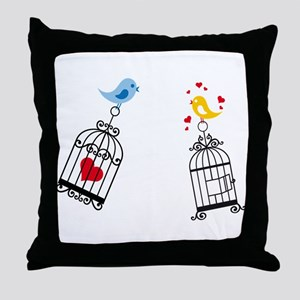 Birds love heart in cage Throw Pillow