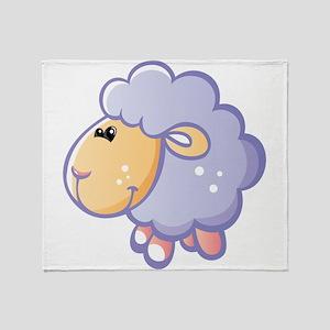 Purple fatty sheep cartoon Throw Blanket