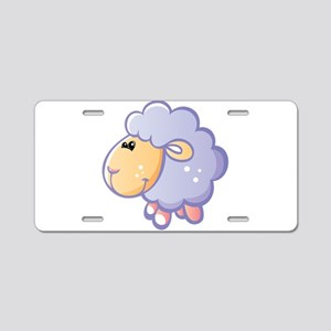 Purple fatty sheep cartoon Aluminum License Plate