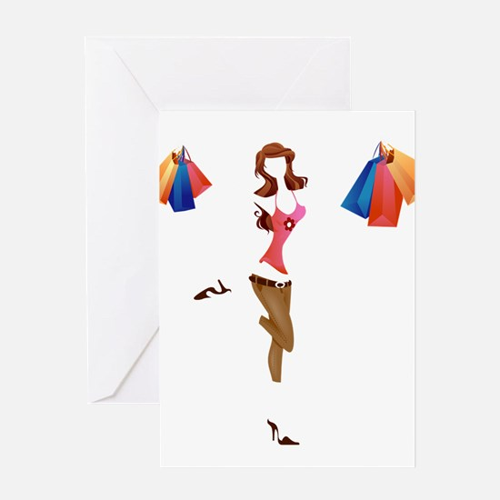 Happy Shopping girls Greeting Cards