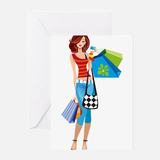 Shopping girls illustration Greeting Cards