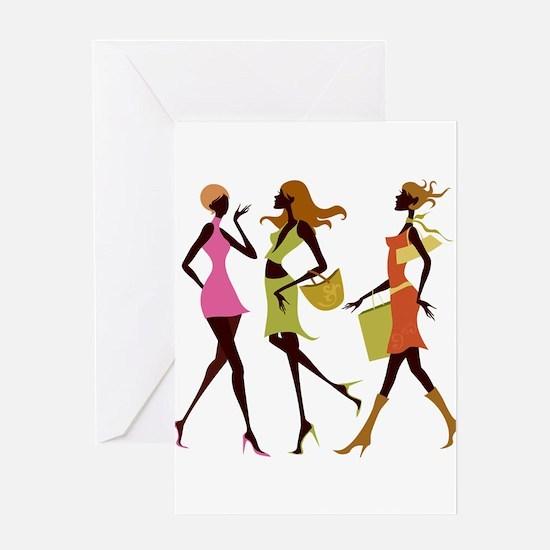 Shopping girls design Greeting Cards