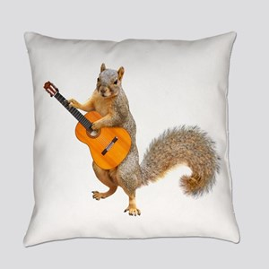 Squirrel Acoustic Guitar Everyday Pillow