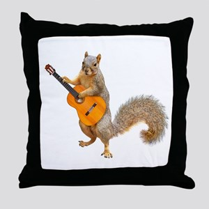 Squirrel Acoustic Guitar Throw Pillow