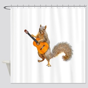 Squirrel Acoustic Guitar Shower Curtain