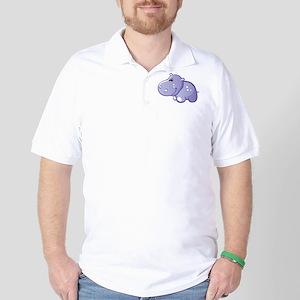 Purple hippo cartoon Golf Shirt