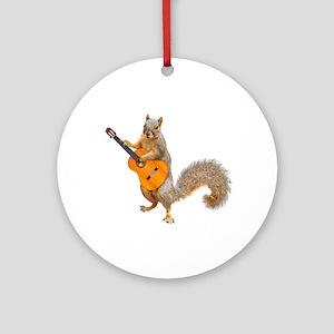 Squirrel Acoustic Guitar Round Ornament