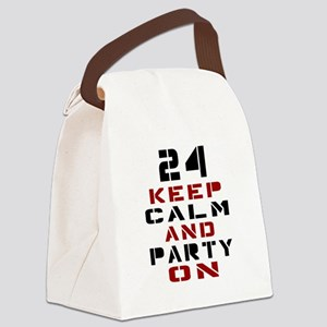 24 Keep Calm And Party On Canvas Lunch Bag
