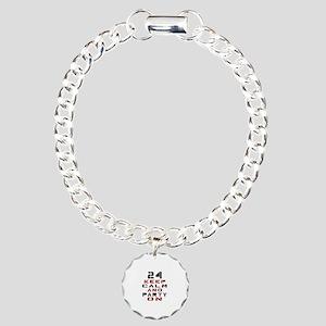 24 Keep Calm And Party O Charm Bracelet, One Charm
