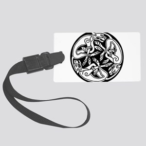 Tattoo Celtic round dogs clip ar Large Luggage Tag
