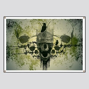 Awesome skull with crow Banner