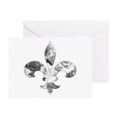Floral Fleur de lis (1) Greeting Cards (Pk of 10)