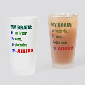 My Brain, 90% For Aikido Drinking Glass