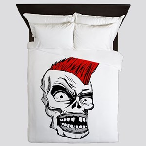Skull smiling with red wig Queen Duvet