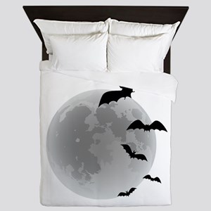 Halloween bats flying Queen Duvet