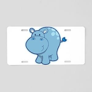Cartoon hippo art Aluminum License Plate
