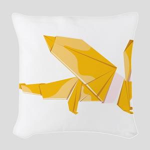 Origami dragon dragonshaped Woven Throw Pillow