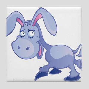 Purple donkey cartoon Tile Coaster