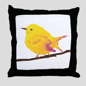 Yellow warbler bird Throw Pillow