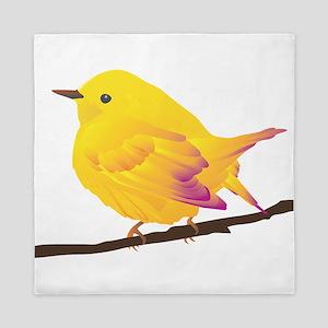 Yellow warbler bird Queen Duvet