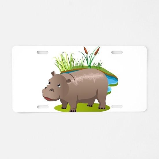 Animal cartoon hippopotamus Aluminum License Plate