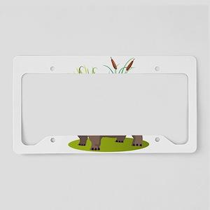 Animal cartoon hippopotamus License Plate Holder