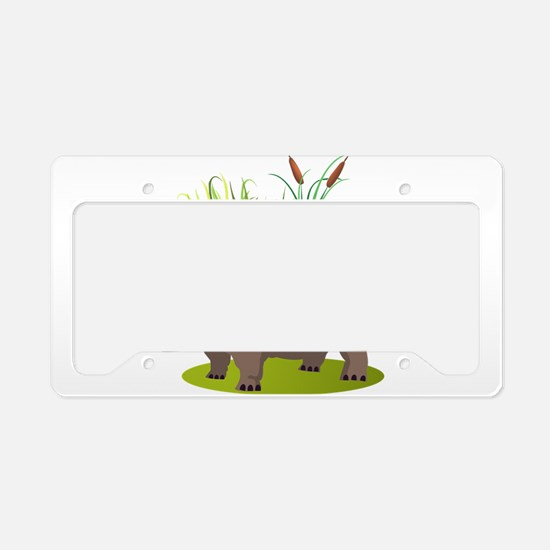 Animal cartoon hippopotamus License Plate Holder