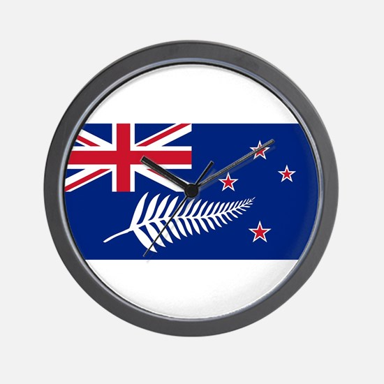 New Zealand Flag With Silver Fern Wall Clock
