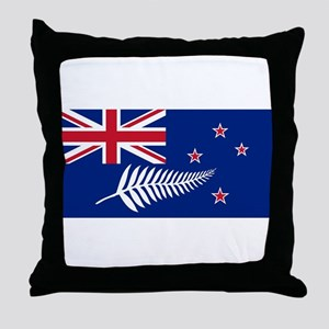 New Zealand Flag With Silver Fern Throw Pillow